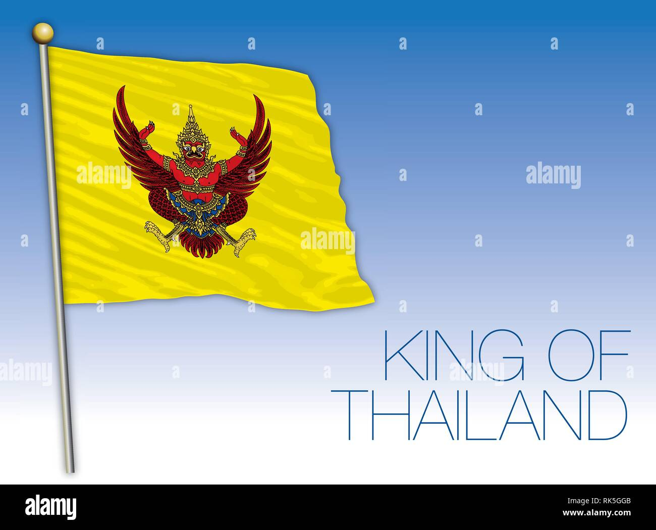 King of Thailand coat of arms and national flag - Stock Vector