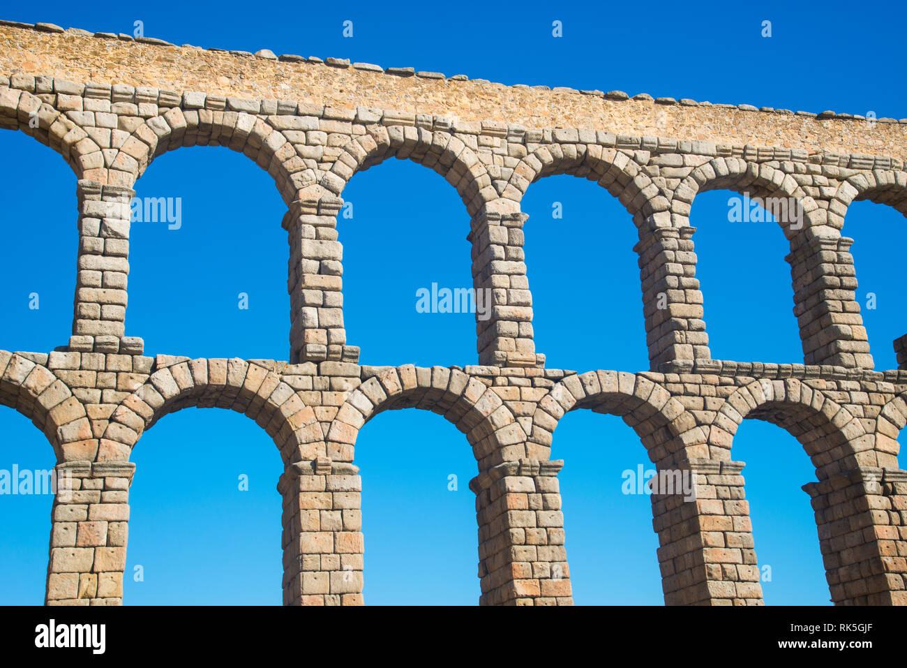 Roman aqueduct. Segovia, Spain. - Stock Image