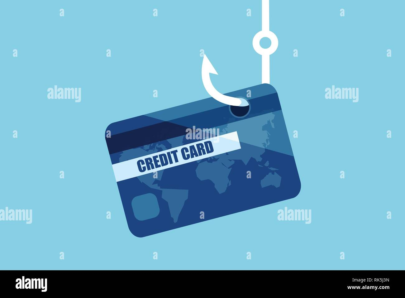 Financial data phishing concept. Vector of a credit or debit bank card on a fishing hook. - Stock Vector