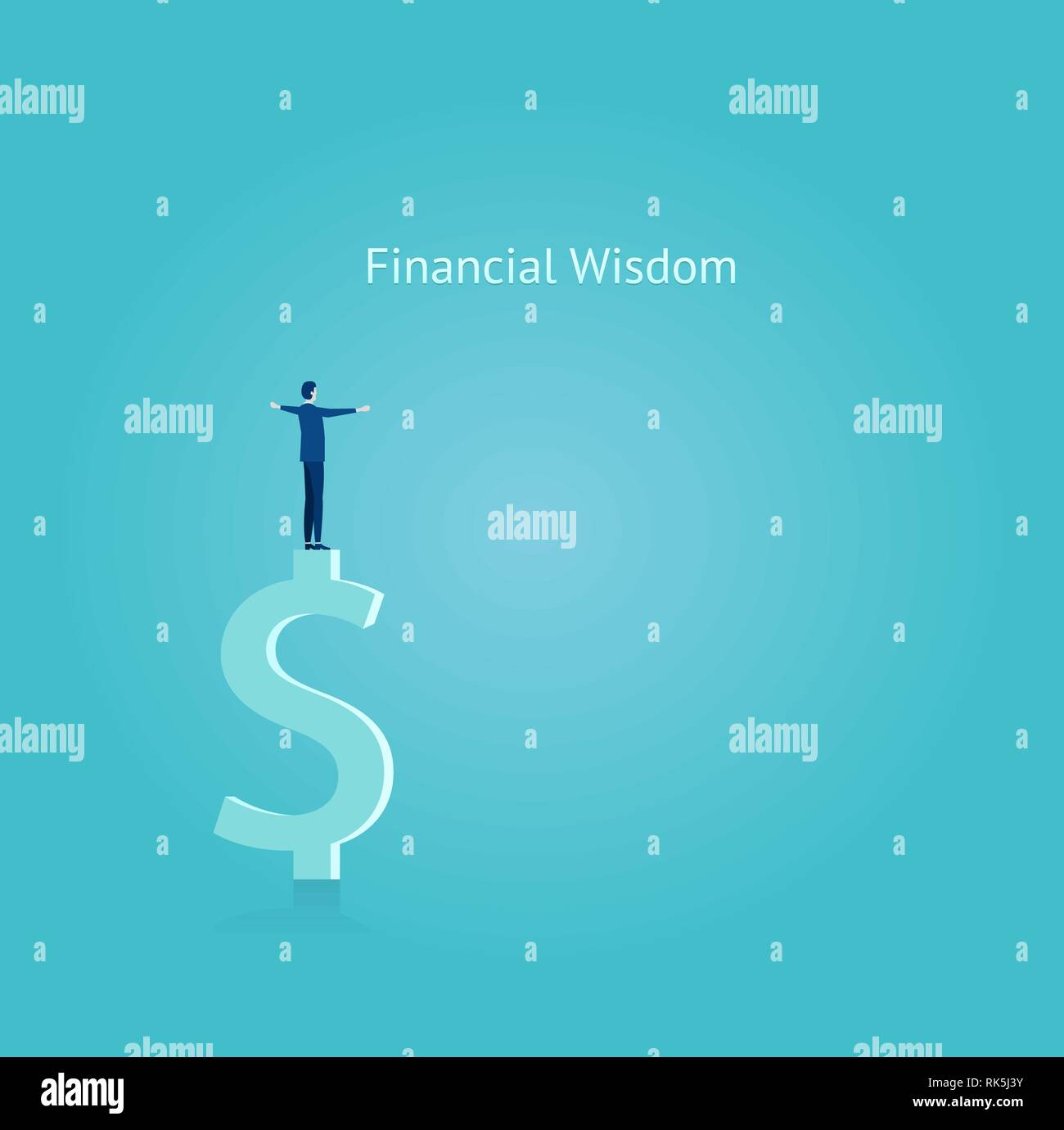 Financial wisdom concept. Vector of a businessman balancing on top of the dollar symbol - Stock Vector