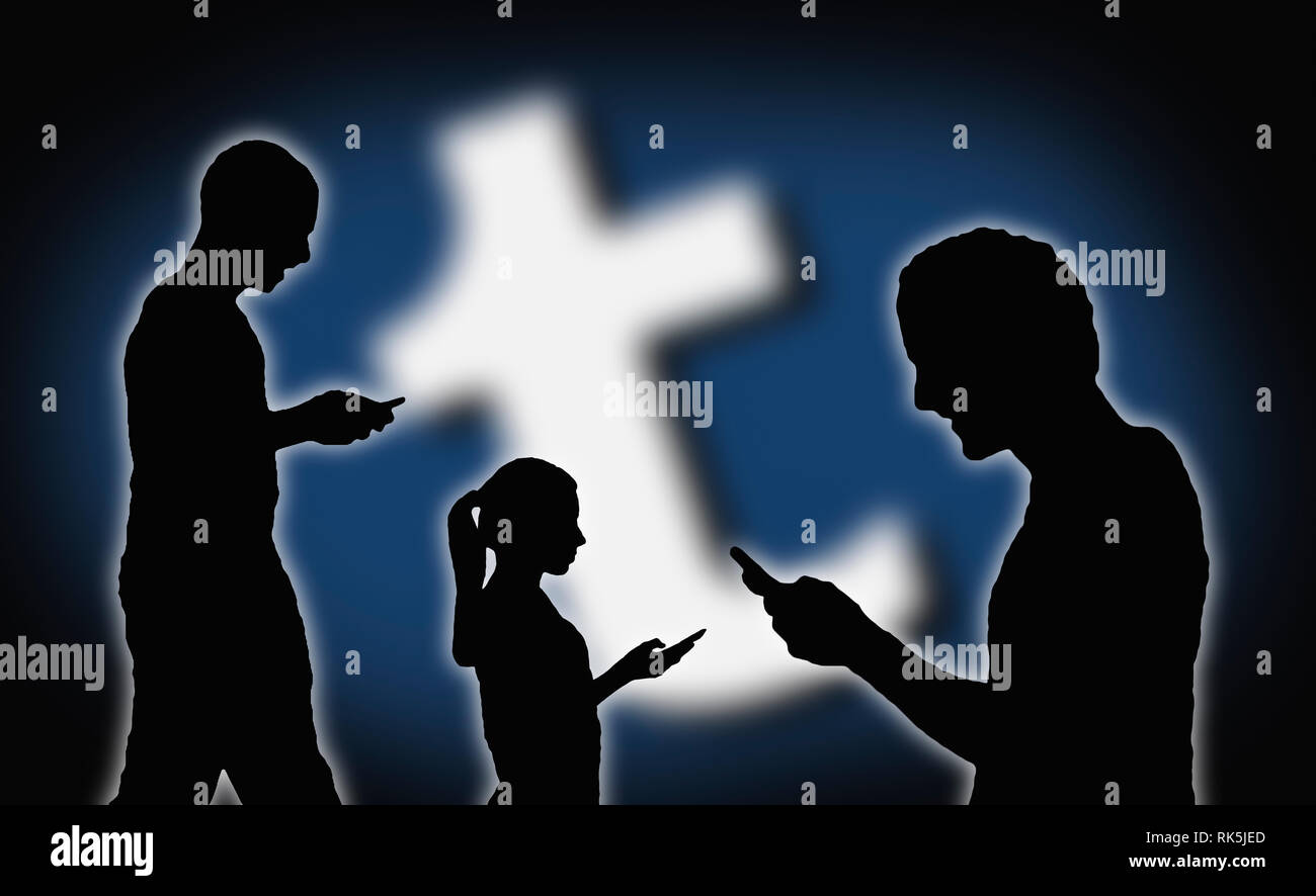 Silhouettes of several people using the Tumblr app on smartphones. - Stock Image