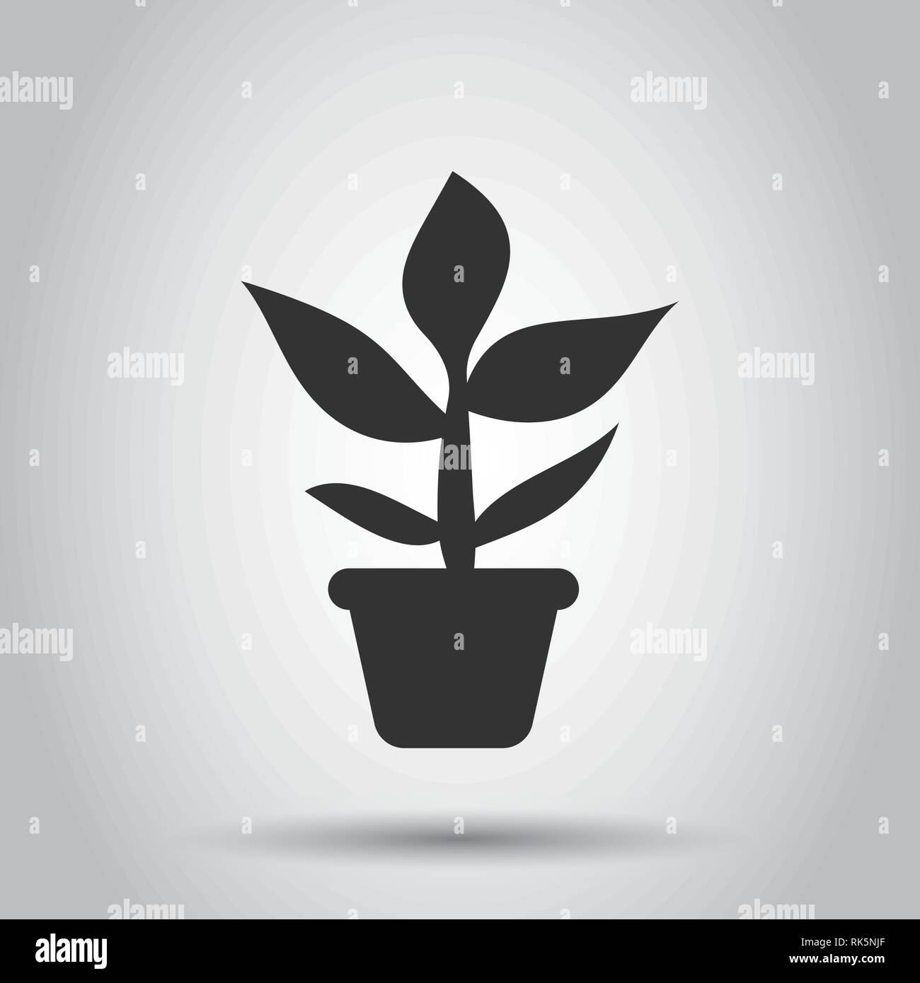 Flower pot vector icon in flat style. Seedling flower illustration on white background. Floral leaf business concept. - Stock Vector