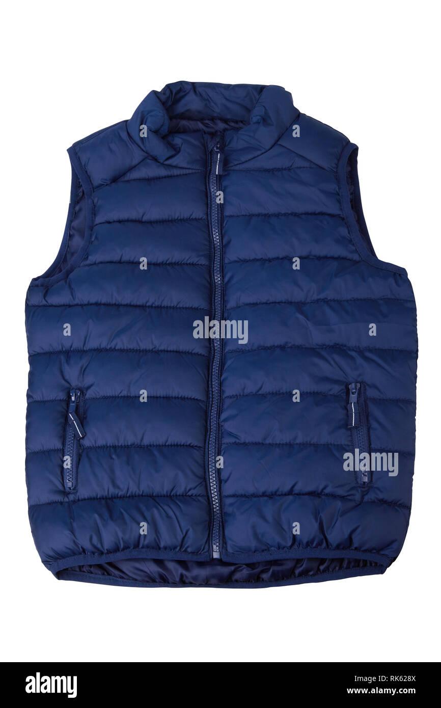 Blue vest isolated on the white background. Padded sleeveless jacket isolated - Stock Image