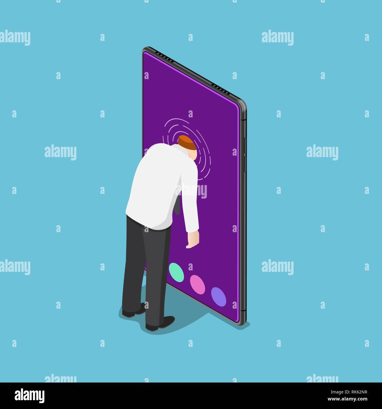 Flat 3d isometric businessman push his head into smartphone. Smartphone addiction concept. - Stock Image