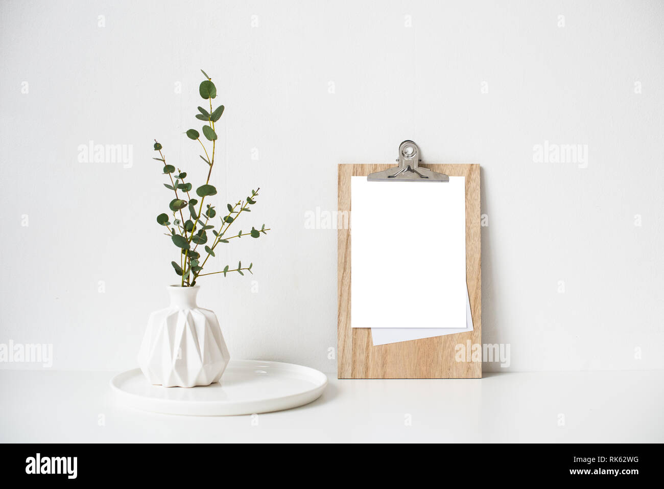 Minimalist Home Decor With Empty Frame Mock Up On White Wall