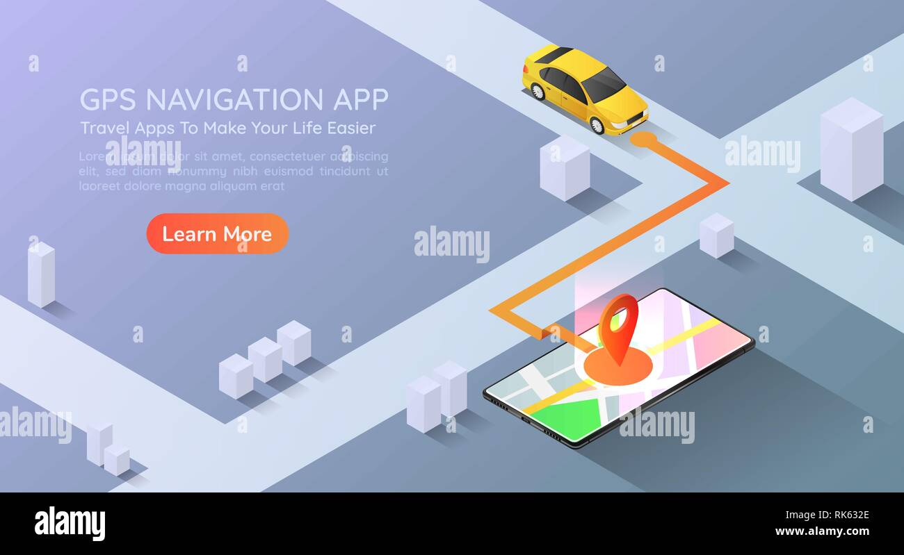 3d isometric web banner car going to pin point at the gps