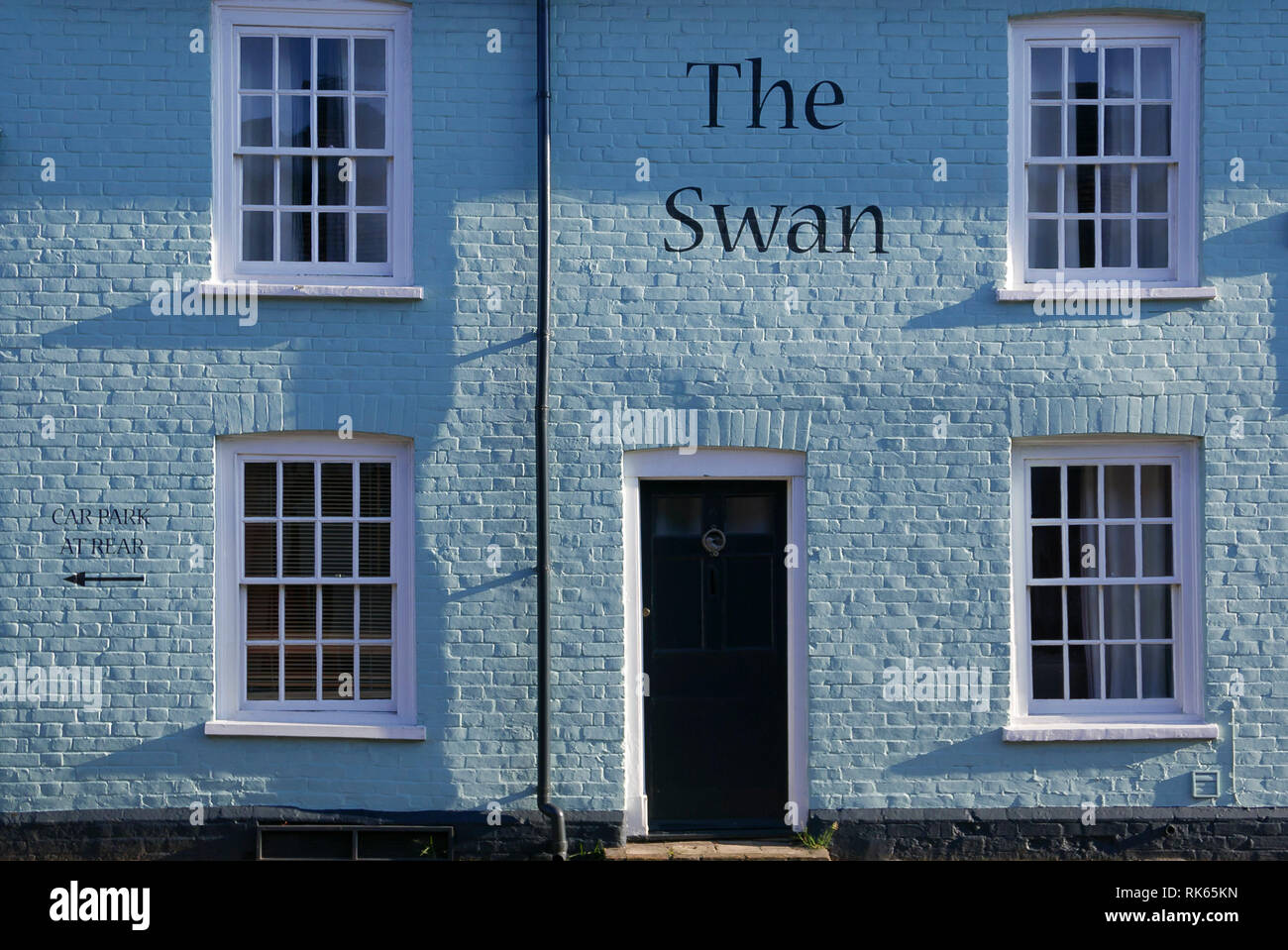 20-01-19. Thaxted, Essex, England,UK. Colourful, colorful, architecture of The Swan Hotel in the centre of town. Photo: © Simon Grosset - Stock Image