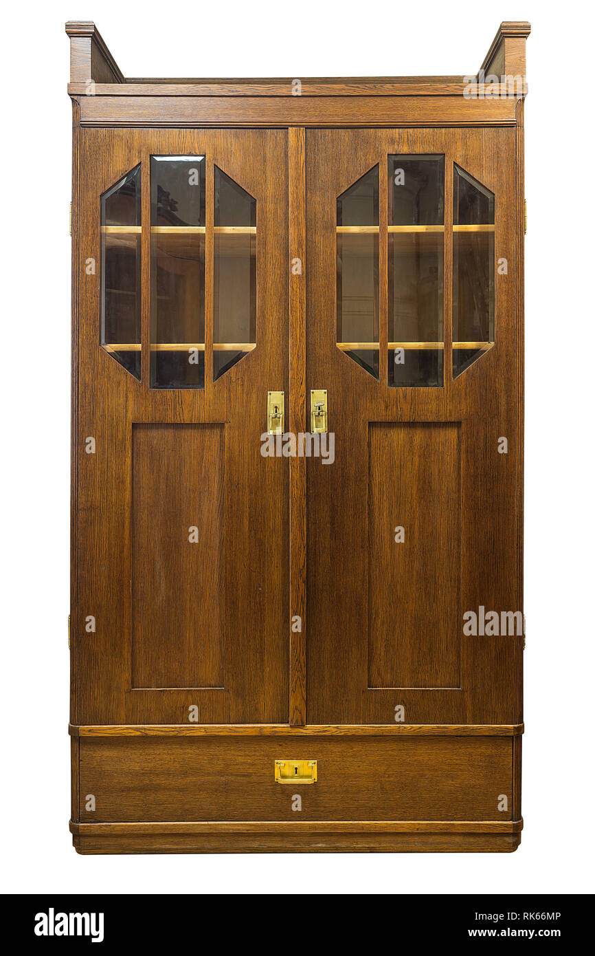 Antique Wood And Glass Book Case Cabinet Isolated On White