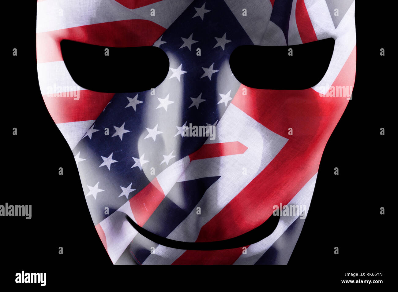 Mask with USA and British flags texture overlay - Stock Image