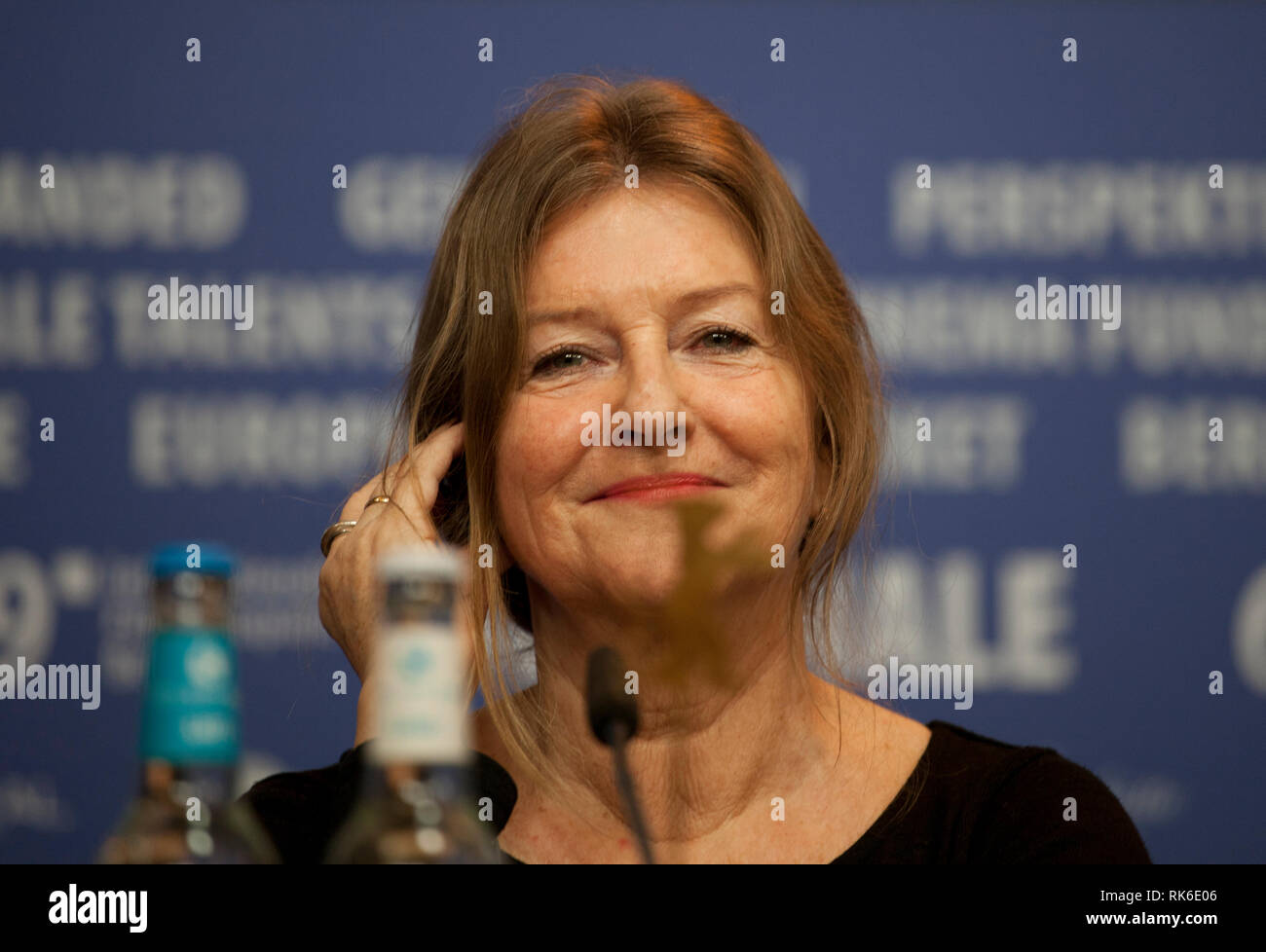 Berlin, Germany. 9th Feb 2019. Producer Turid Øversveen at the press conference for the film Out Stealing Horses (Ut Og Stjæle Hester) at the 69th Berlinale International Film Festival, on Saturday 9th February 2019, Hotel Grand Hyatt, Berlin, Germany. Credit: Doreen Kennedy/Alamy Live News - Stock Image