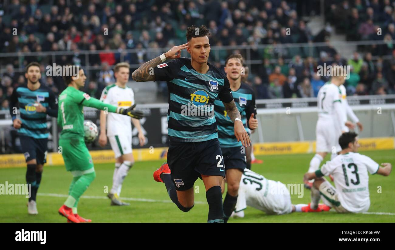 Gladbach, Deutschland. 09th Feb, 2019. firo: Football, Saison 2018/2019 1.Bundesliga: 09.02.2019 VfL Borussia Monchengladbach, Gladbach - Hertha BSC Berlin or 3: 0 Davie Selke JUbel | usage worldwide Credit: dpa/Alamy Live News - Stock Image