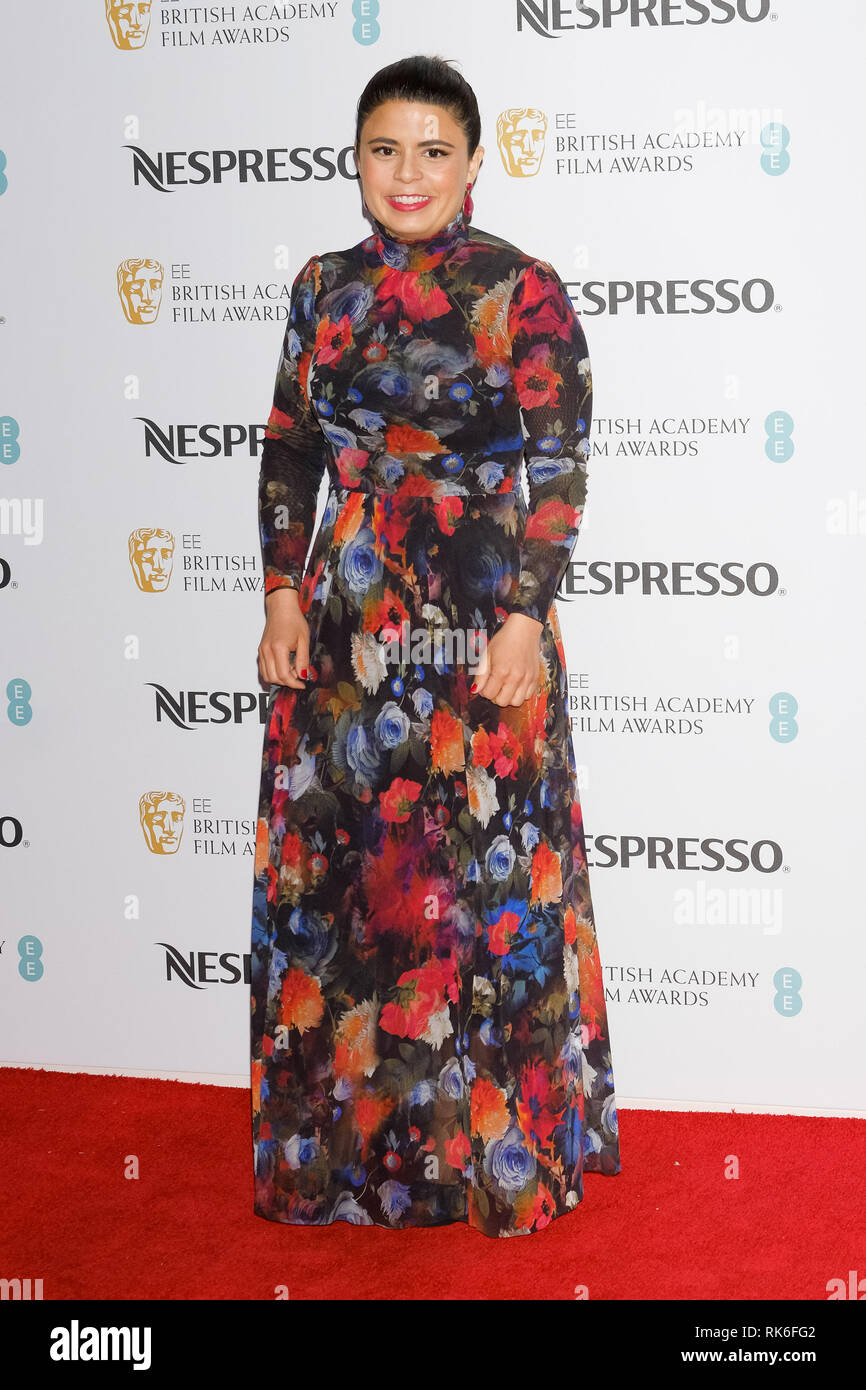 London, UK. Gabriela Rodriguez poses at the BAFTA Nespresso Nominees Party on Saturday 9 February 2019 at Kensington Palace, London. . Picture by Julie Edwards. Credit: Julie Edwards/Alamy Live News - Stock Image