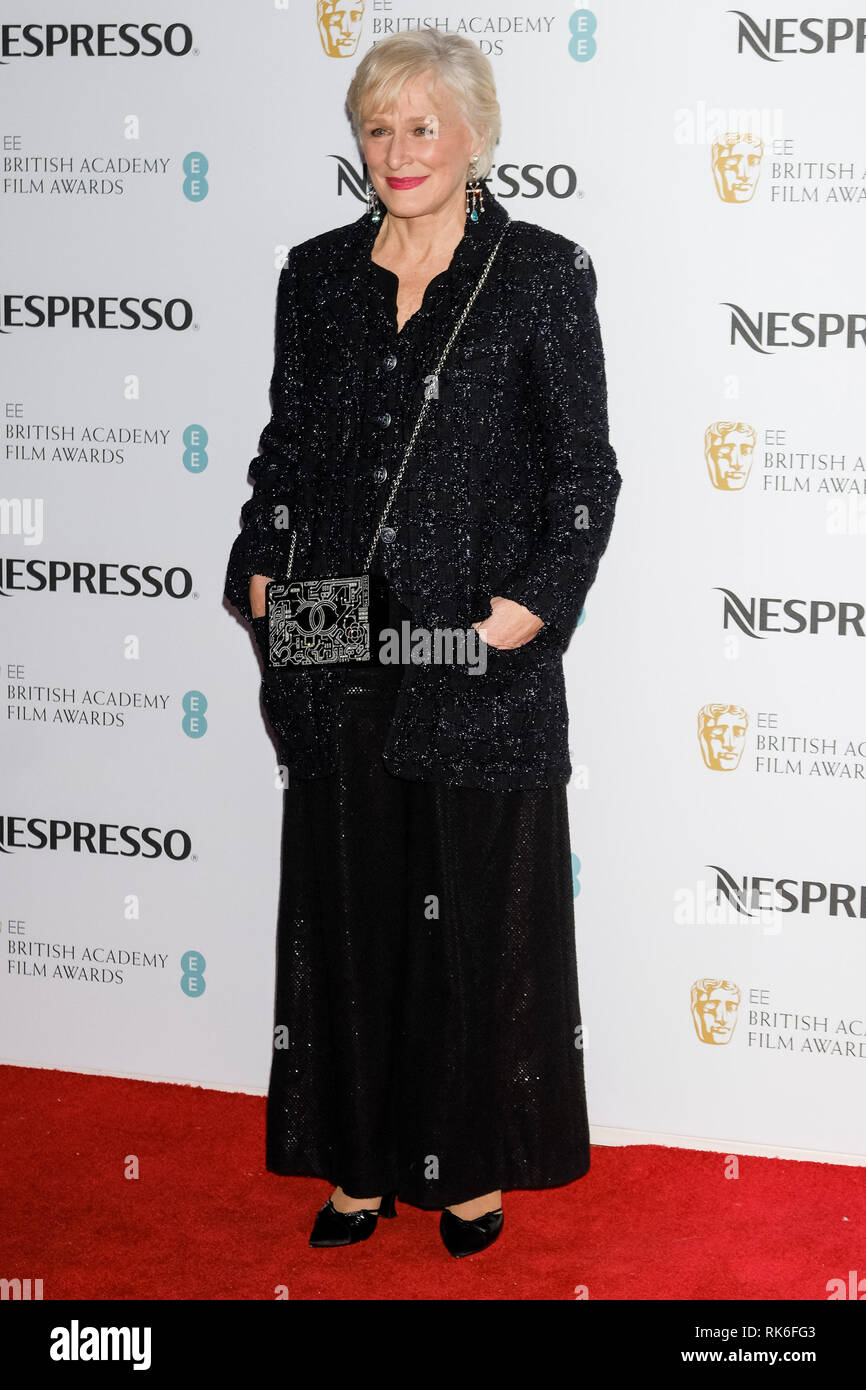 London, UK. Glenn Close poses at the BAFTA Nespresso Nominees Party on Saturday 9 February 2019 at Kensington Palace, London.  Picture by Julie Edwards. Credit: Julie Edwards/Alamy Live News - Stock Image