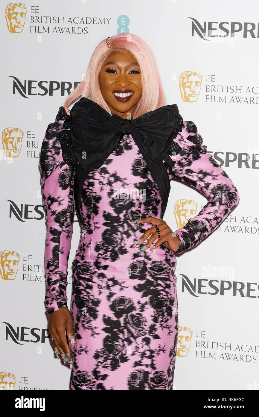 London, UK. Cynthia Erivo poses at the BAFTA Nespresso Nominees Party on Saturday 9 February 2019 at Kensington Palace, London. . Picture by Julie Edwards. Credit: Julie Edwards/Alamy Live News - Stock Image