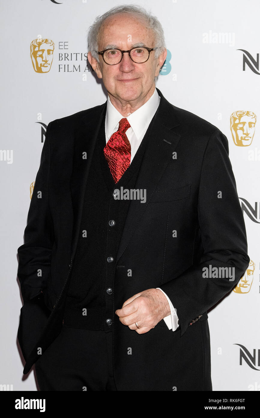 London, UK. Jonathan Pryce poses at the BAFTA Nespresso Nominees Party on Saturday 9 February 2019 at Kensington Palace, London. . Picture by Julie Edwards. Credit: Julie Edwards/Alamy Live News - Stock Image