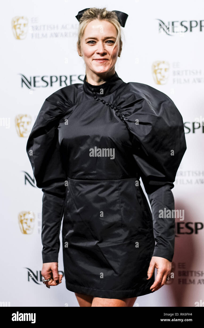 London, UK. Edith Bowman poses at the BAFTA Nespresso Nominees Party on Saturday 9 February 2019 at Kensington Palace, London. . Picture by Julie Edwards. Credit: Julie Edwards/Alamy Live News - Stock Image