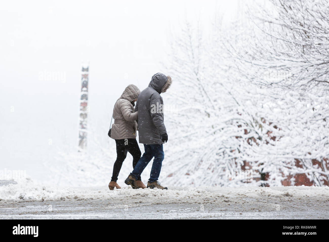 Washington, USA. 9th Feb 2019. A couple crosses Virginia Street as a strong winter storm blankets Seattle in six inches of snow. In the distance is a cedar totem from Victor Steinbrueck Park. Credit: Paul Christian Gordon/Alamy Live News Stock Photo
