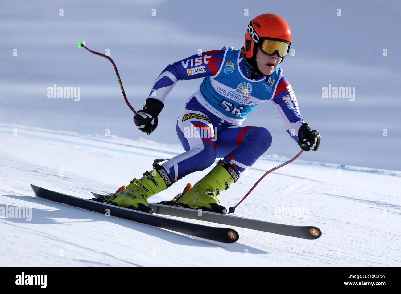 Yuzhno Sakhalinsk, Russia. 10th Feb, 2019. YUZHNO-SAKHALINSK, RUSSIA - FEBRUARY 10, 2019: Russia's Yegor Melbard competes to win the alpine skiing men's super giant slalom event at the 1st Children of Asia Winter International Sports Games. Andrei Golovanov/TASS Credit: ITAR-TASS News Agency/Alamy Live News - Stock Image