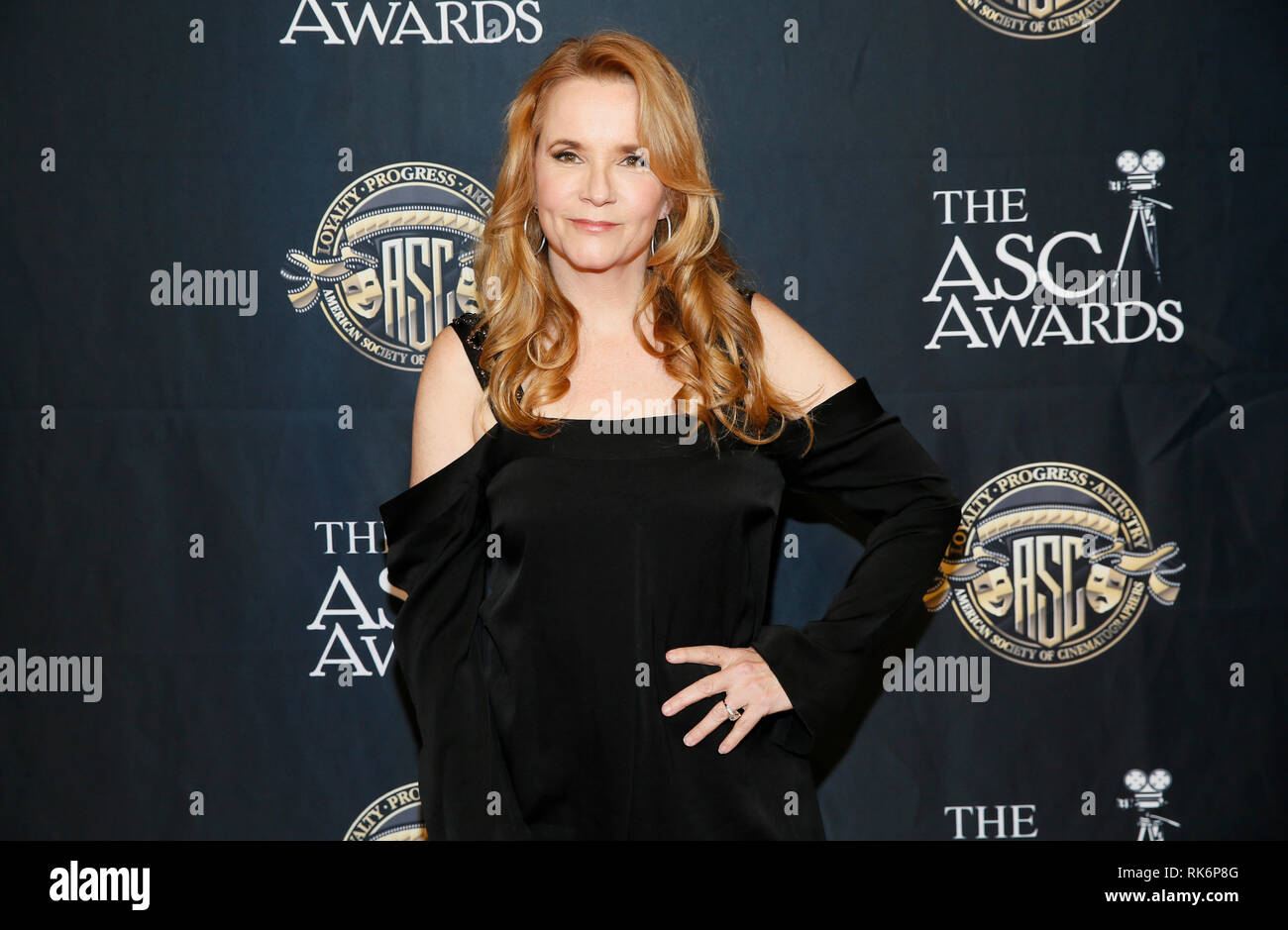 California, USA. 9th Feb 2019. Actress Lea Thompson poses at the 33rd annual ASC Awards and The American Society of Cinematographers 100th Anniversary Celebration at the Ray Dolby Ballroom at Hollywood & Highland, Saturday, February 9, 2019 in Hollywood, California. Photo by Danny Moloshok/Moloshok Photography, Inc./imageSPACE Credit: Imagespace/Alamy Live News Stock Photo