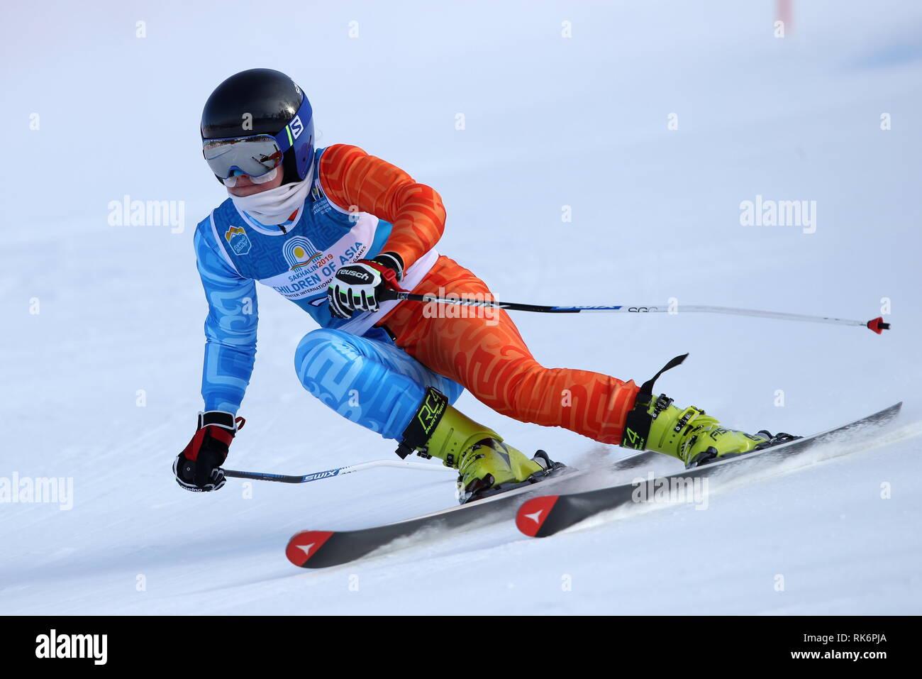 Yuzhno Sakhalinsk, Russia. 10th Feb, 2019. YUZHNO-SAKHALINSK, RUSSIA - FEBRUARY 10, 2019: Russia's Karina Gaidamashchuk competes in the alpine skiing women's super giant slalom event at the 1st Children of Asia Winter International Sports Games. Andrei Golovanov/TASS Credit: ITAR-TASS News Agency/Alamy Live News - Stock Image