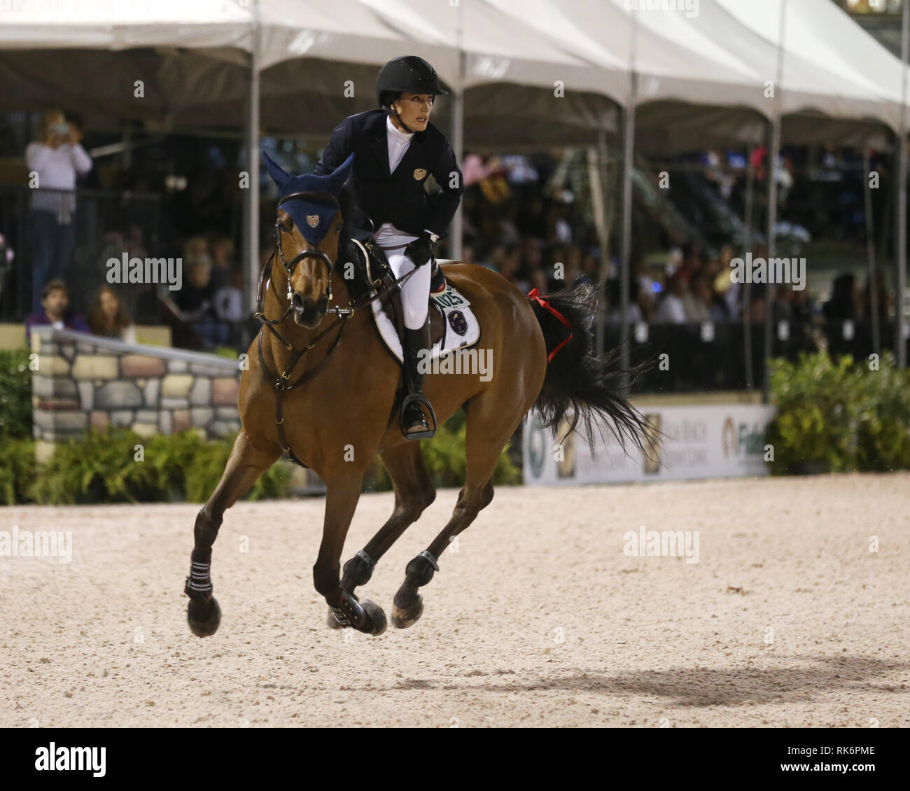 Florida, USA. 9th Feb 2019. Jessica Rae Springsteen (Bruce Springsteen's daughter) participates in Class 101 - FEI CSI5* $391,000 Fidelity Investments Grand Prix where the winner was Martin Fuchs (Swiss) second place was Kent Farrington (USA) and third was Conor Swail (IRE). Credit: Storms Media Group/Alamy Live News Stock Photo
