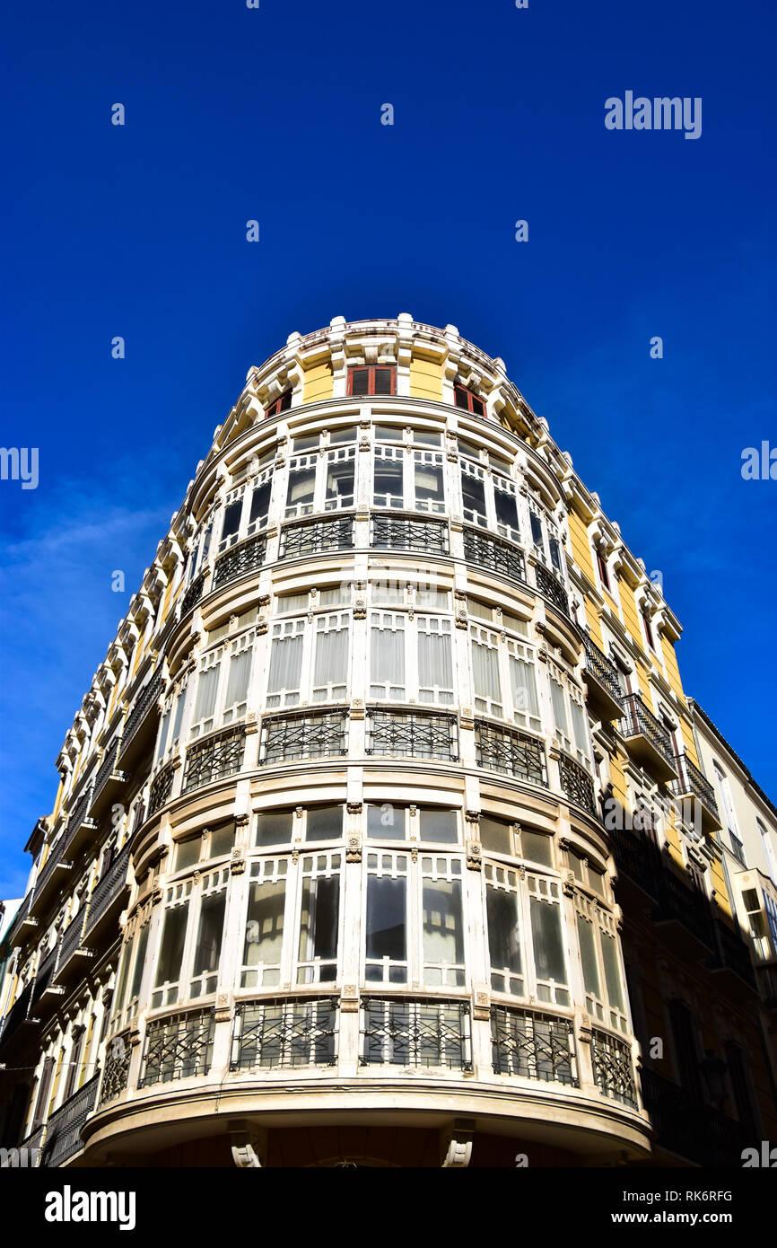 Bay Windows, Architecture, Malaga, Andalucia, Spain - Stock Image