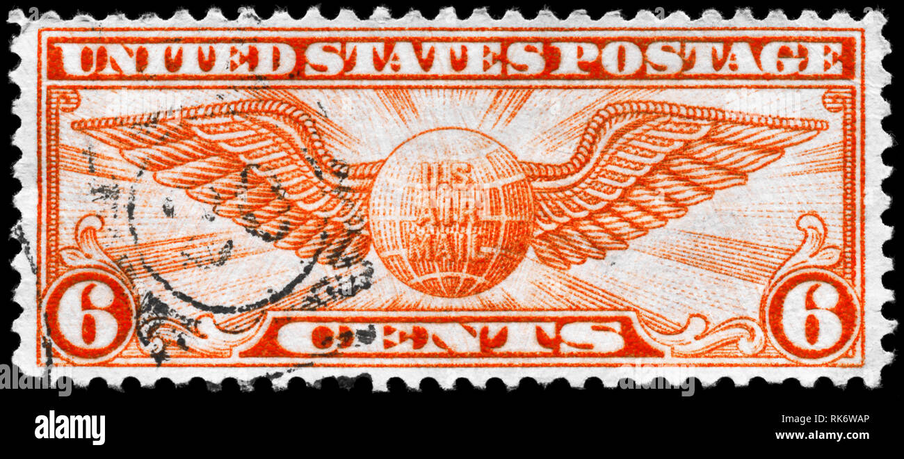 USA - CIRCA 1934: A Stamp printed in USA shows the Winged Globe, circa 1934 Stock Photo