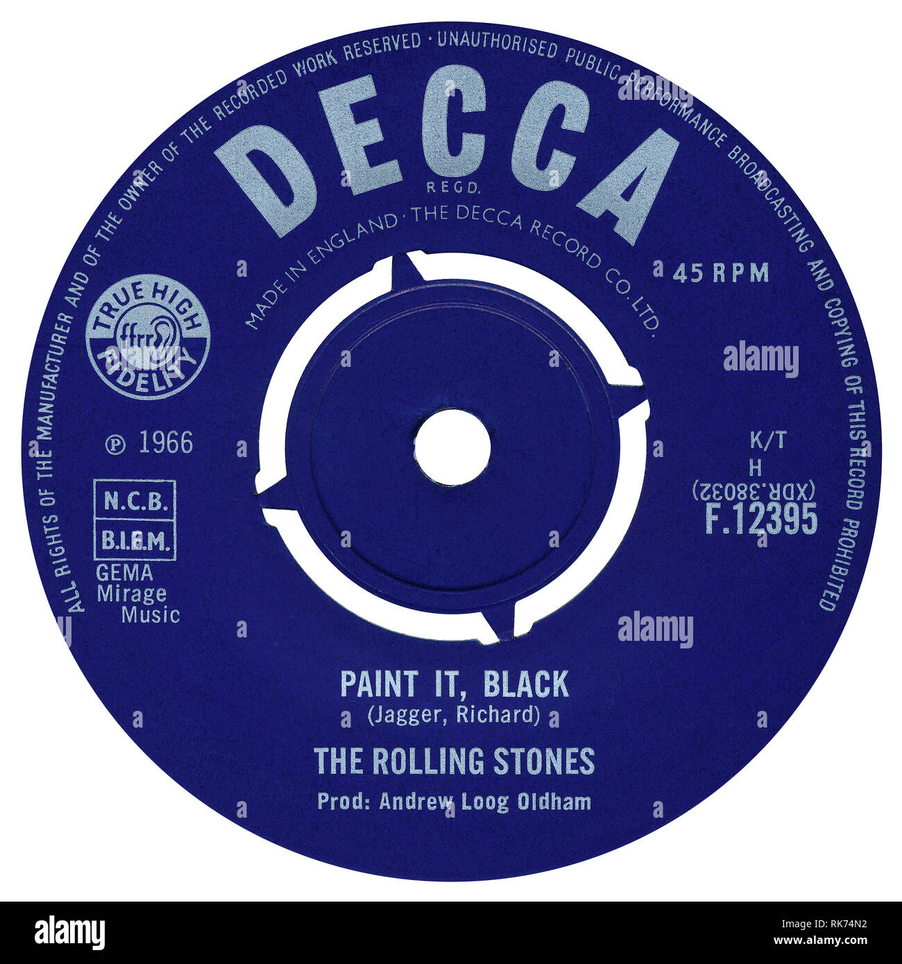 UK 45 rpm single of Paint It, Black by The Rolling Stones on the Decca label from 1966. Written by Mick Jagger and Keith Richard and produced by Andrew Loog Oldham. Stock Photo