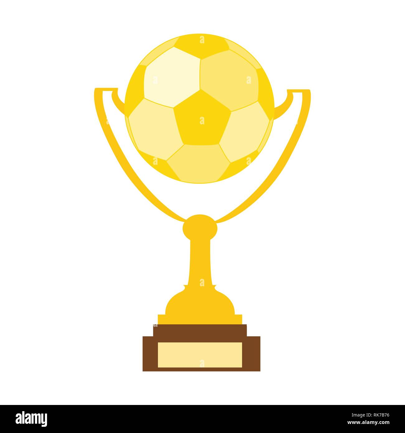 Abstract Golden Soccer Trophy. Vector Illustration. Golden champion cup isolated on white background. Championship trophy with glittering confetti par - Stock Vector