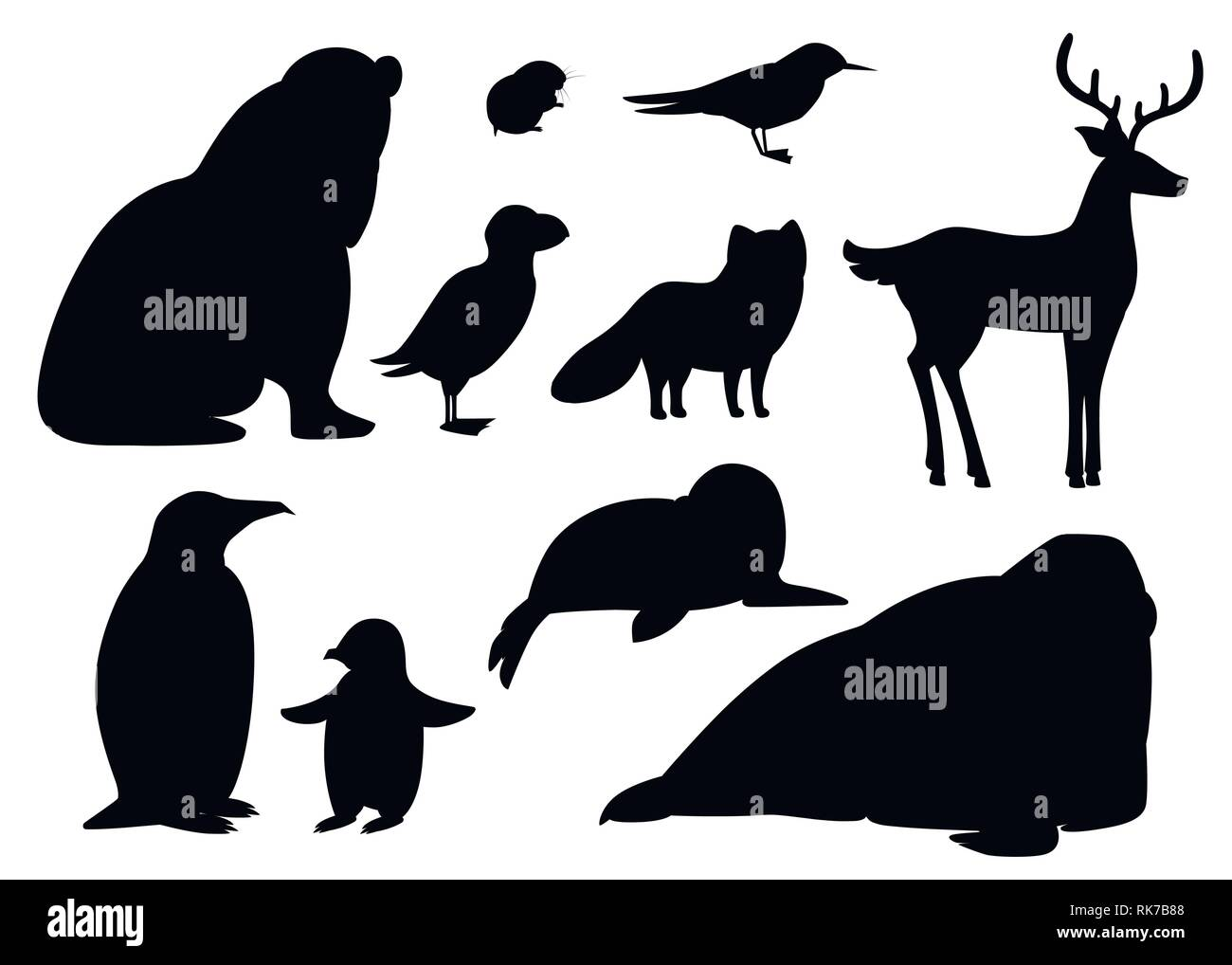 Black silhouette. Set of arctic animals icon. Birds and mammals. Arctic animal, cartoon flat design. Vector illustration isolated on white background. - Stock Vector
