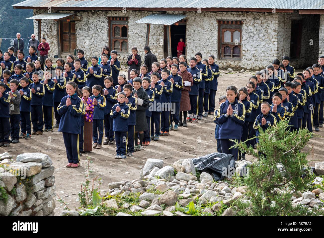 Morning ceremony for schoolchildren in Laya, Gasa District, Snowman Trek, Bhutan Stock Photo