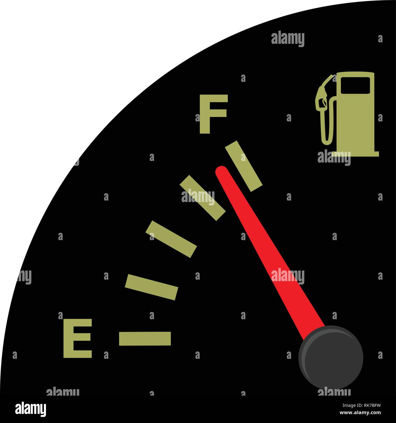 Vector fuel gauge indicator in car dashboard full isolated