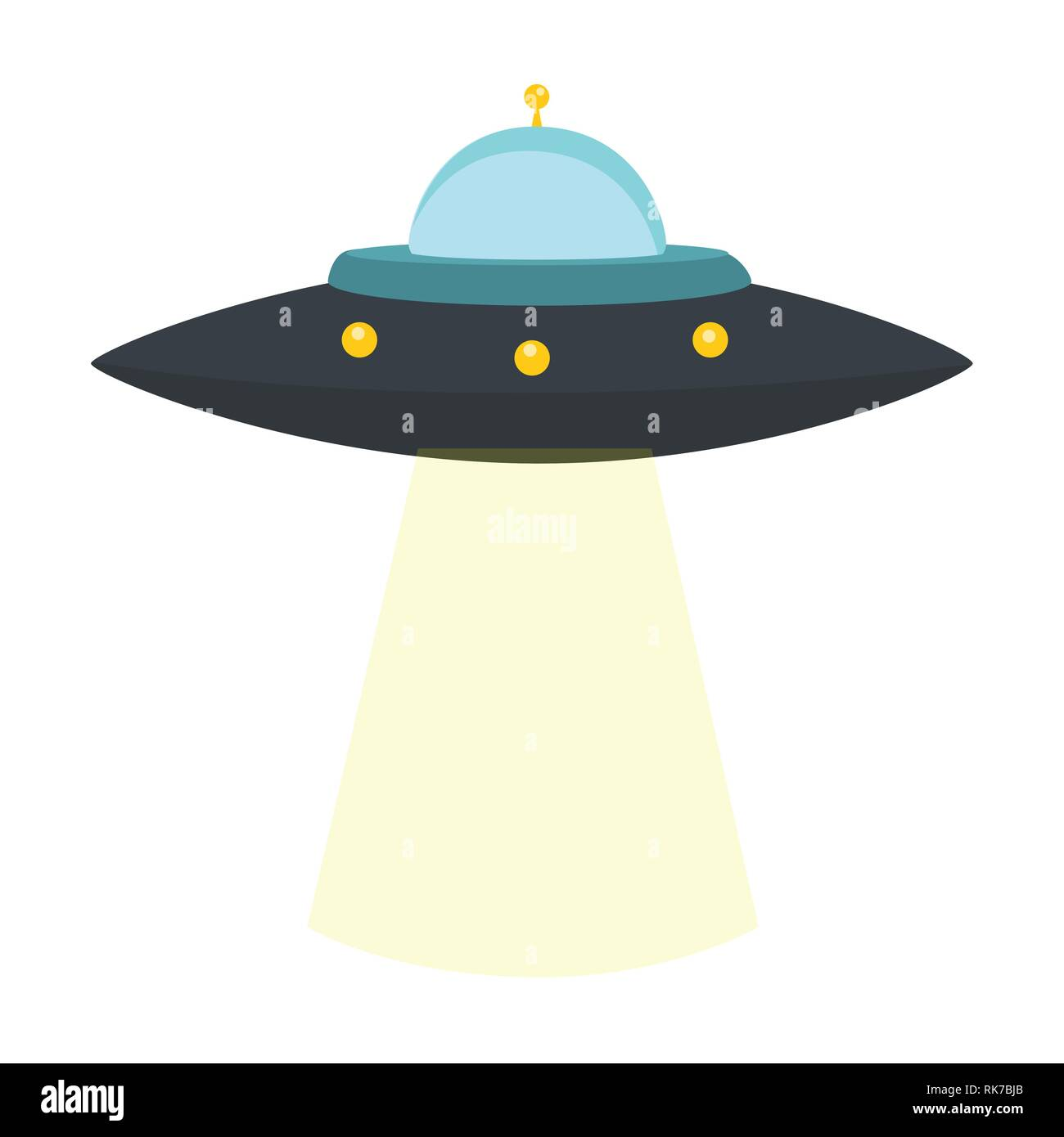 Vector illustration UFO alien spaceship isolated on white background - Stock Image