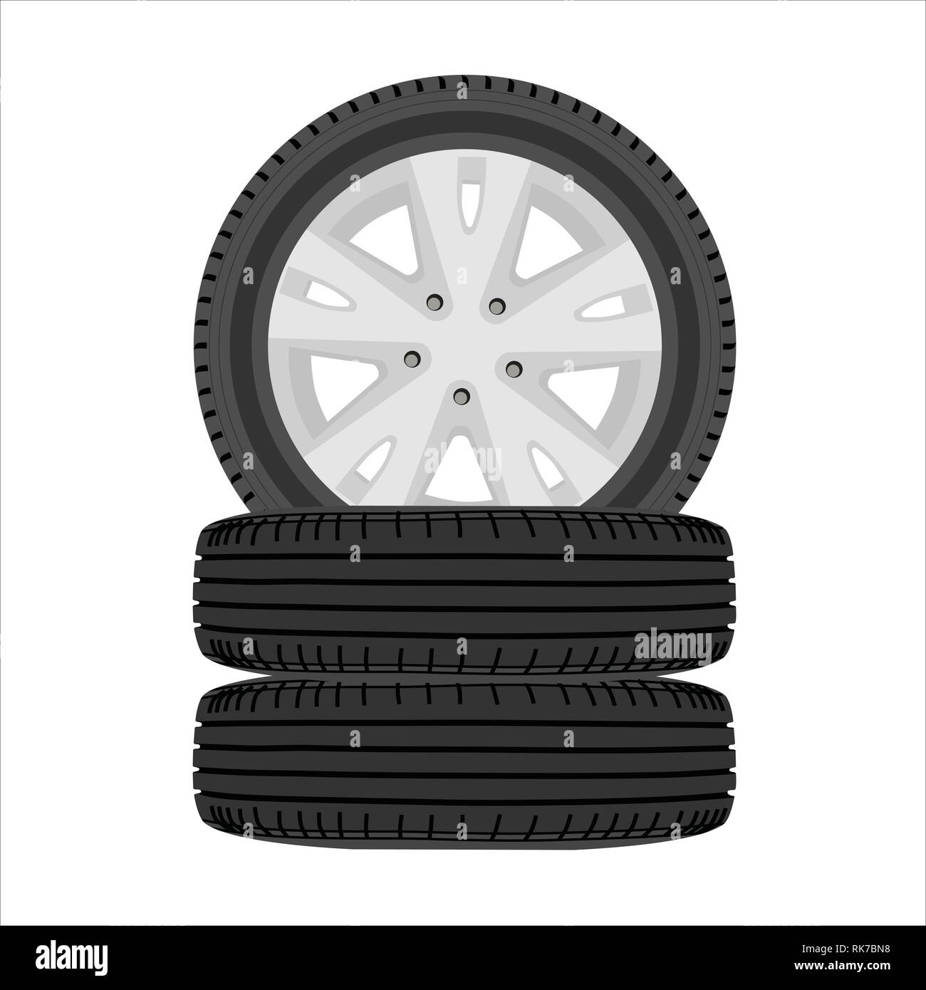 A stack of car tires. Car wheel set isolated on white - Stock Vector