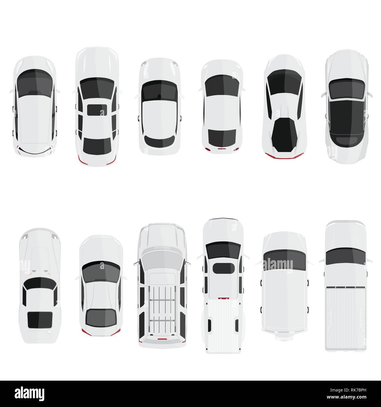 Cars Top View Vector Flat City Vehicle Transport Set Automobile Car