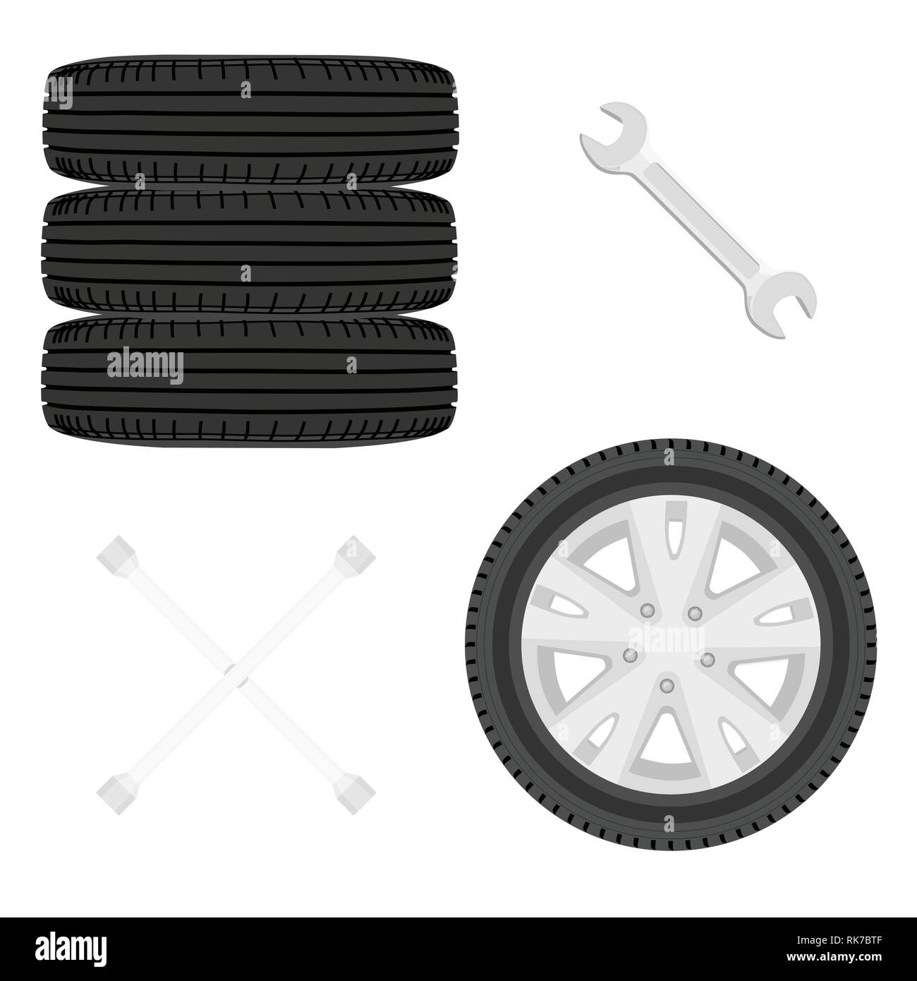 A stack of car tires. Car wheels and wrench icon set isolated on white. Car repair service concept - Stock Vector