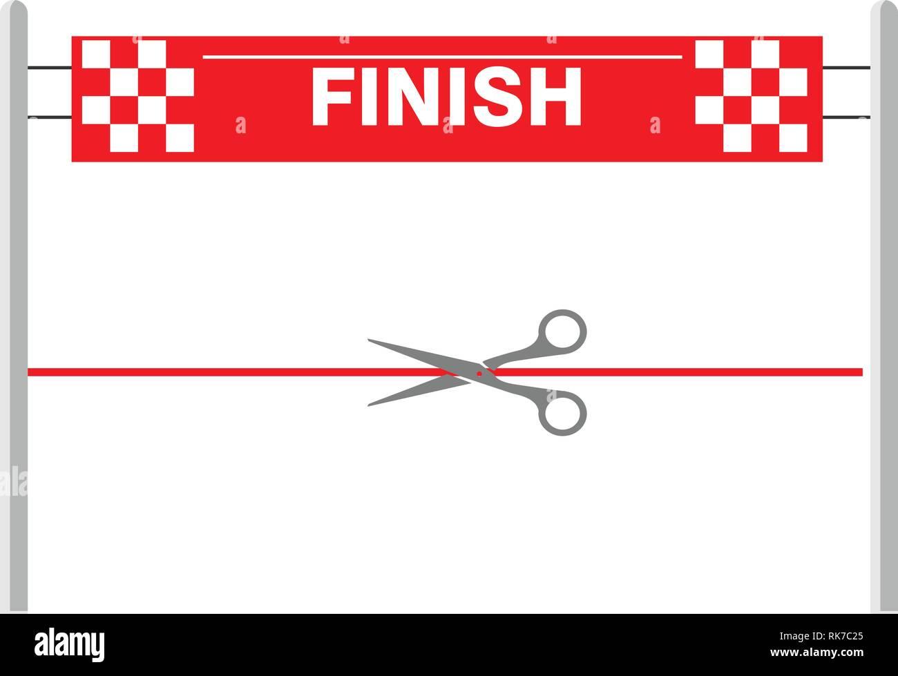 huge discount 44e99 27d0f Red ribbon finishing line. Finish. Vector illustration