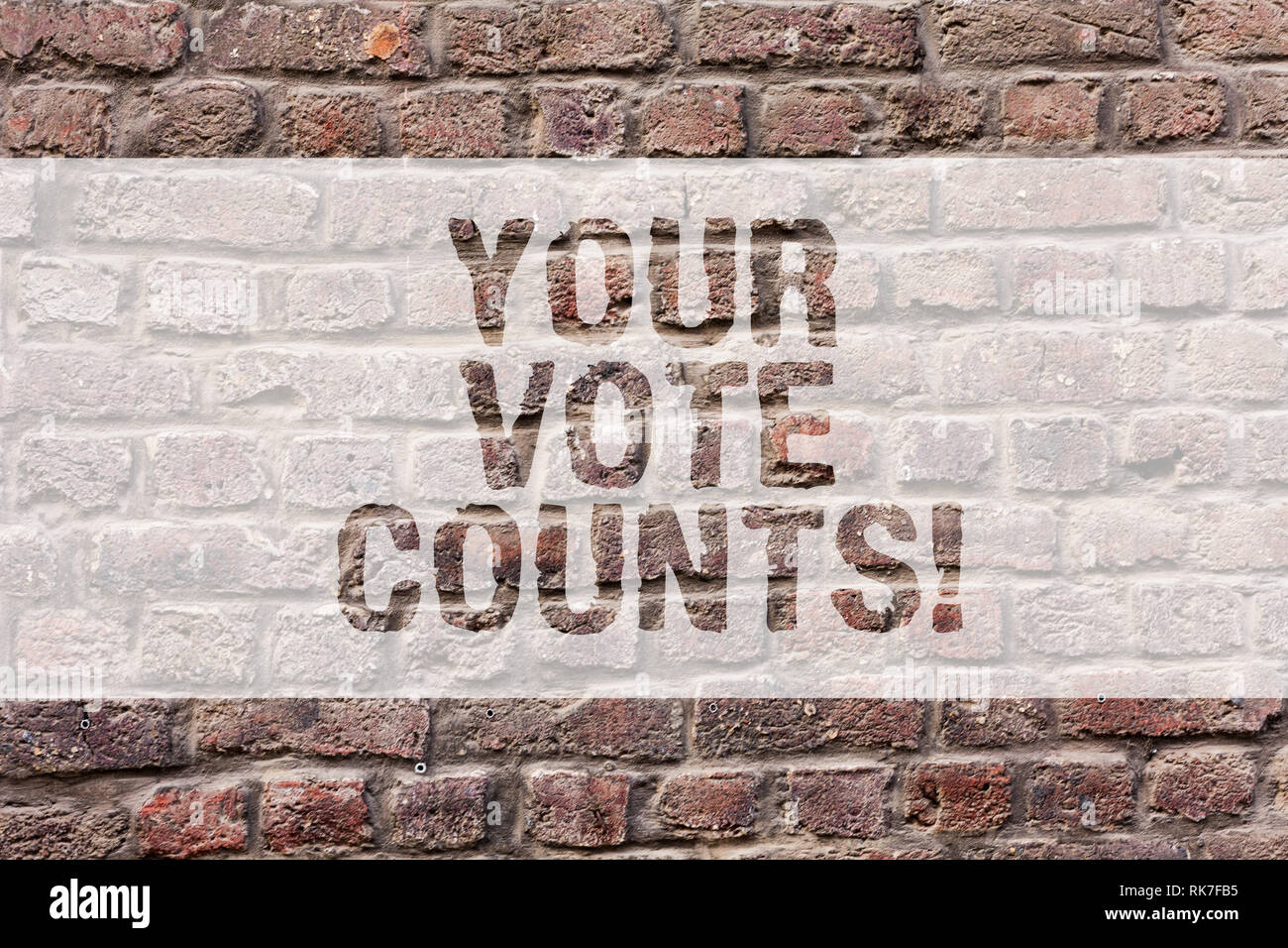 Word writing text Your Vote Counts. Business concept for Make an election choose whoever you think is better Brick Wall art like Graffiti motivational - Stock Image