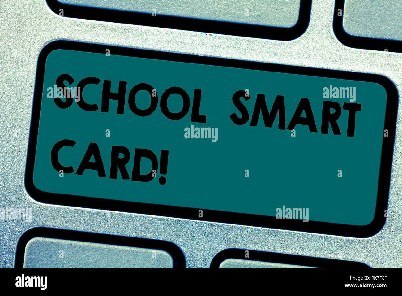 Conceptual hand writing showing School Smart Card. Business photo showcasing integrated circuit card to give access children enter Keyboard key Intent - Stock Image