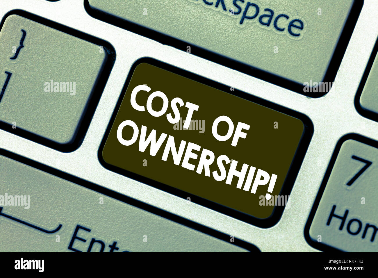 Writing note showing Cost Of Ownership. Business photo showcasing purchase price of asset plus the price of operation Keyboard key Intention to create - Stock Image