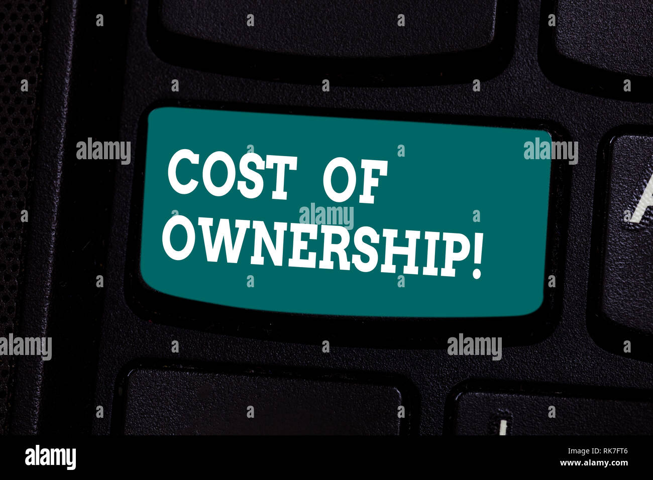 Handwriting text writing Cost Of Ownership. Concept meaning purchase price of asset plus the price of operation Keyboard key Intention to create compu - Stock Image