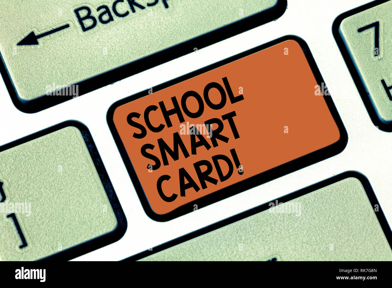 Word writing text School Smart Card. Business concept for integrated circuit card to give access children enter Keyboard key Intention to create compu - Stock Image