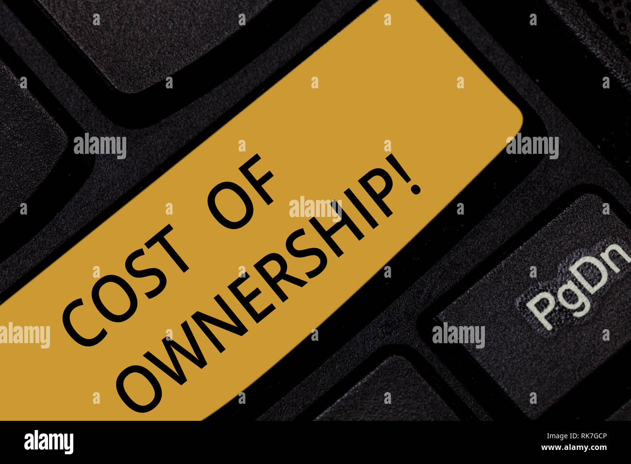 Word writing text Cost Of Ownership. Business concept for purchase price of asset plus the price of operation Keyboard key Intention to create compute - Stock Image