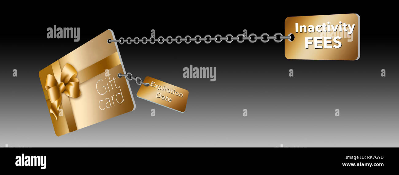 A gold retail gift card is seen with tags attached with chains. The tag represent problems with gift cards...expiration dates and inactivity fee with  - Stock Image