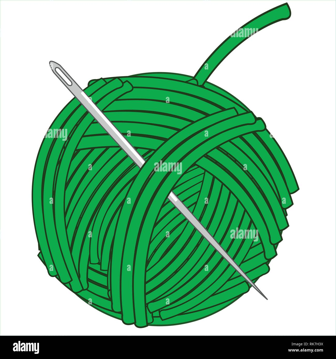 Hank with green thread and needle.Vector illustration - Stock Vector