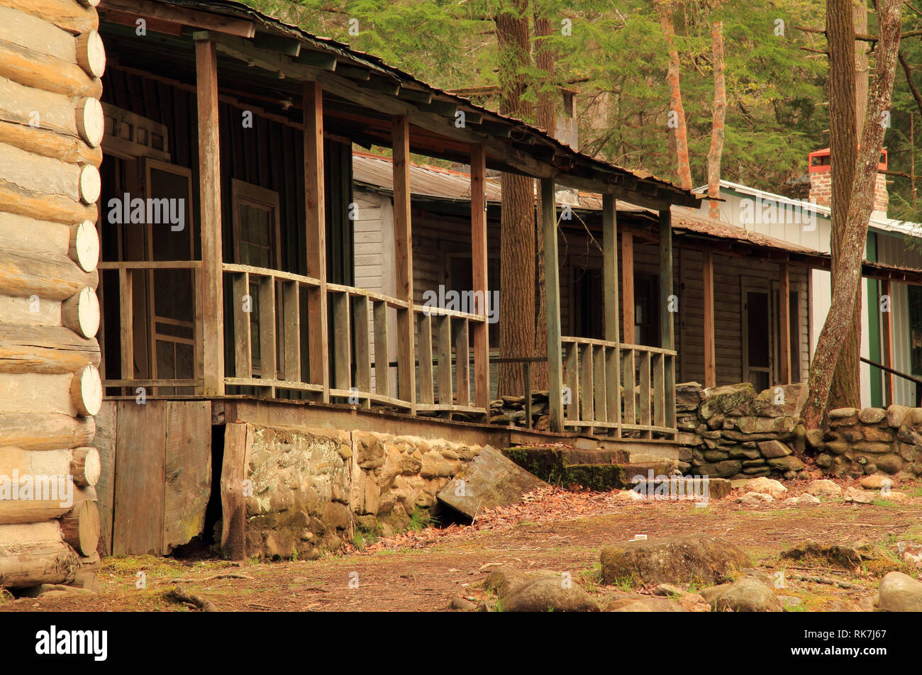 The Elkmont historic district in Great Smokey Mountains National Park is notable for several rustic cabins preserved by the National Park Service Stock Photo