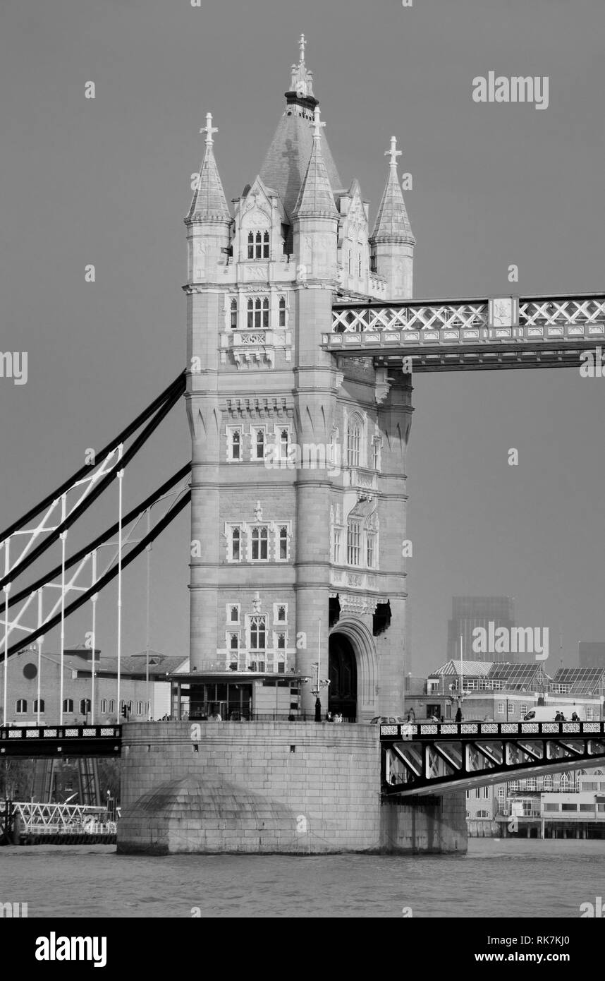 Tower Bridge closeup in London as the famous landmark. - Stock Image