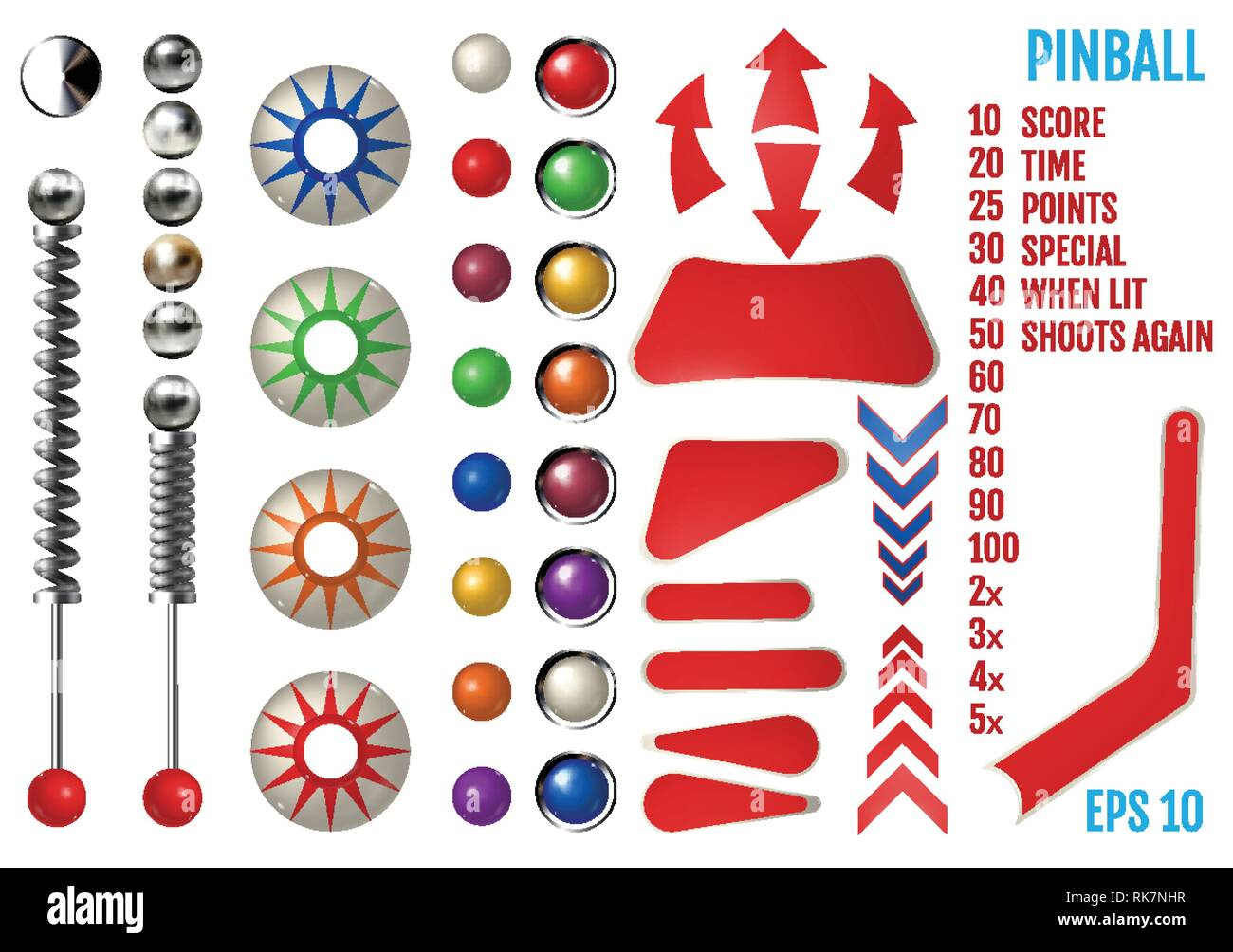 Playfield Pinball Machine Bumpers Stock Photos & Playfield