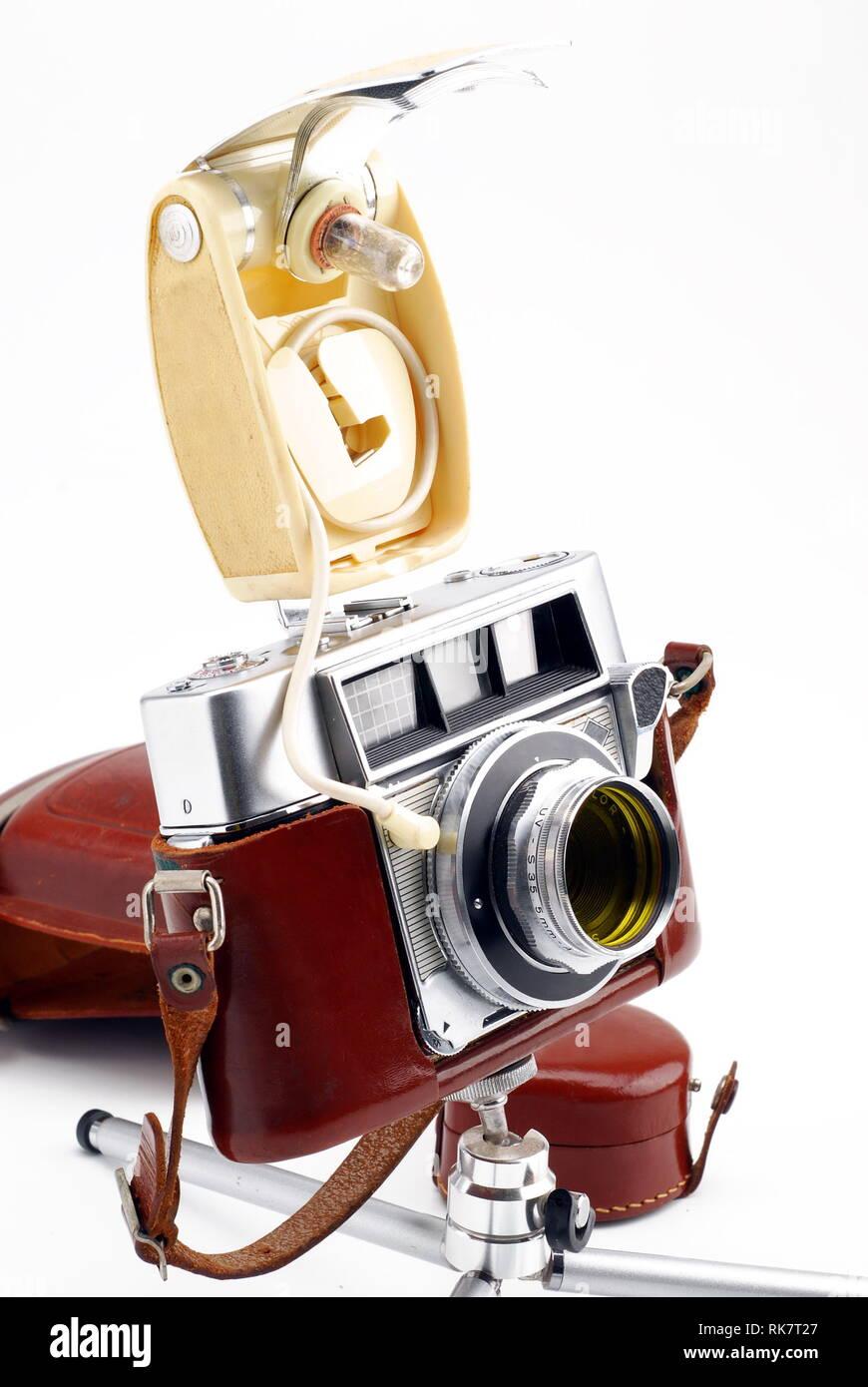 analog camera and flash on a white background Stock Photo