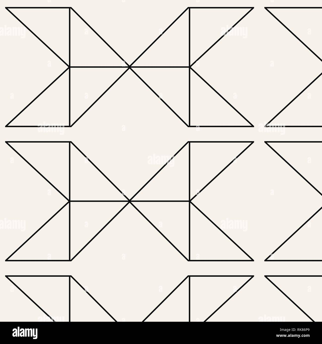 Vector seamless pattern. Modern stylish texture with monochrome trellis. Repeating geometric triangular grid. Simple graphic design. Trendy hipster sa - Stock Vector